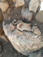 Broken pottery at Omrit, Israel