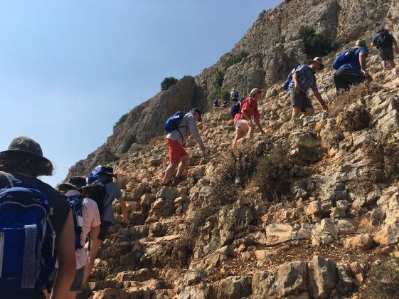 Climbing Mt. Arbel, Israel
